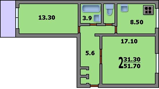 Продажа 2 комнатной квартиры г. москва, ул. лескова, дом 21 .